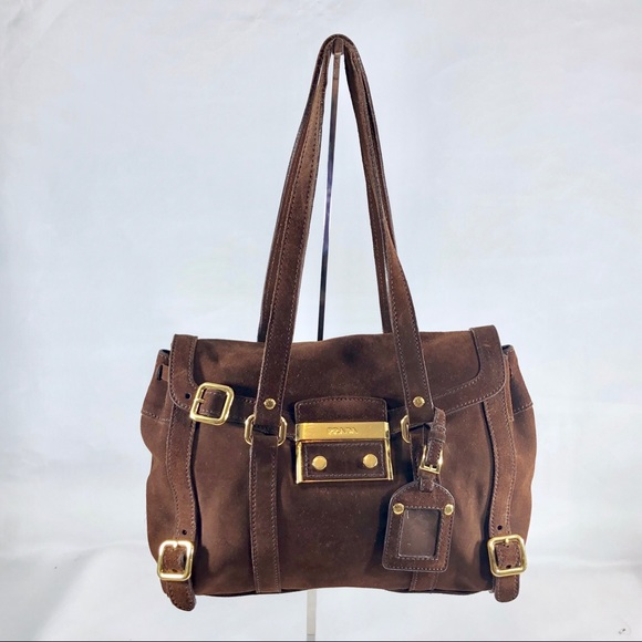 Prada Bags   Brown Suede Leather Satchel Shoulder Bag   Poshmark 19fde72305